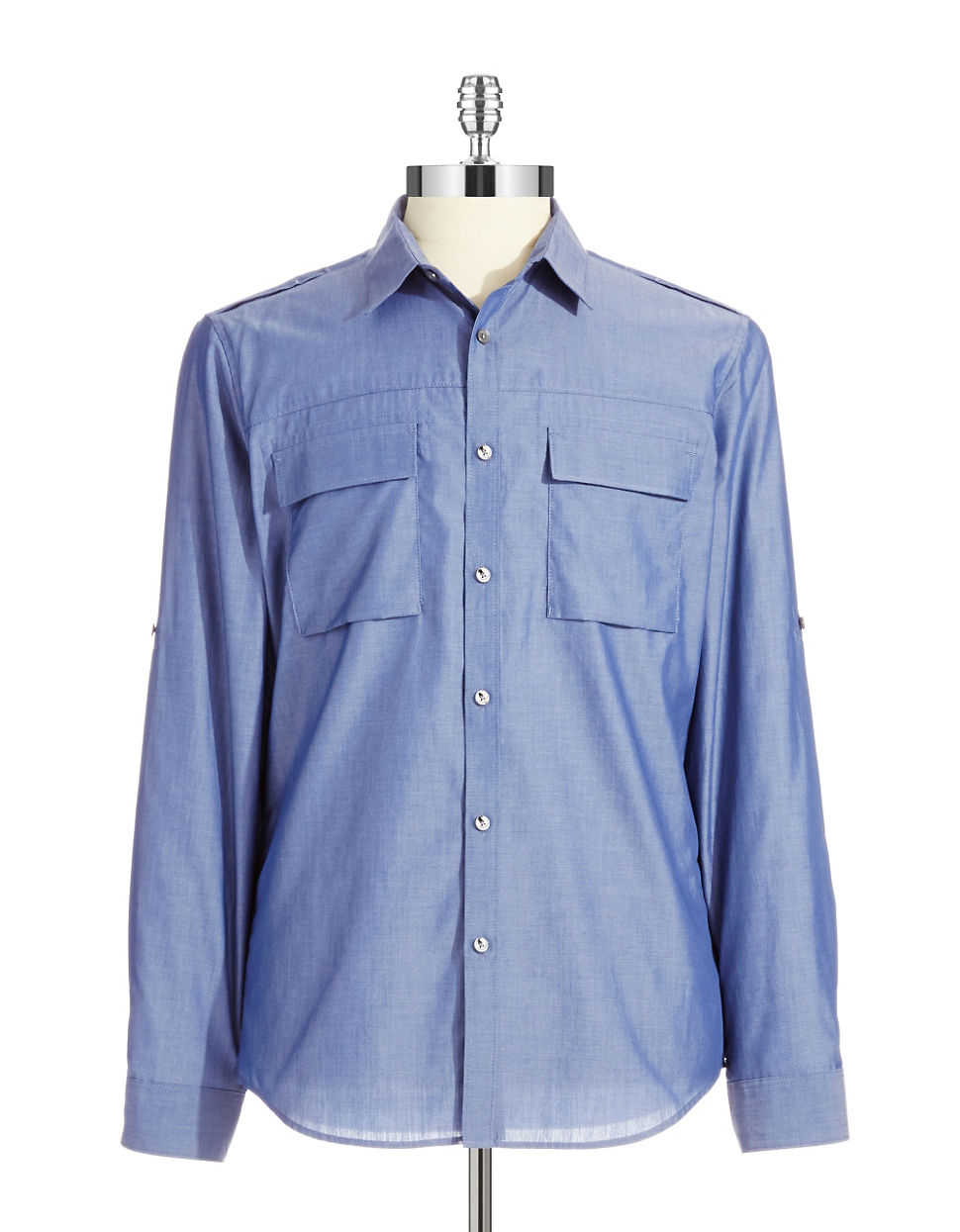 Calvin klein chambray sport shirt with roll tab sleeves in for Men s roll tab sleeve shirts