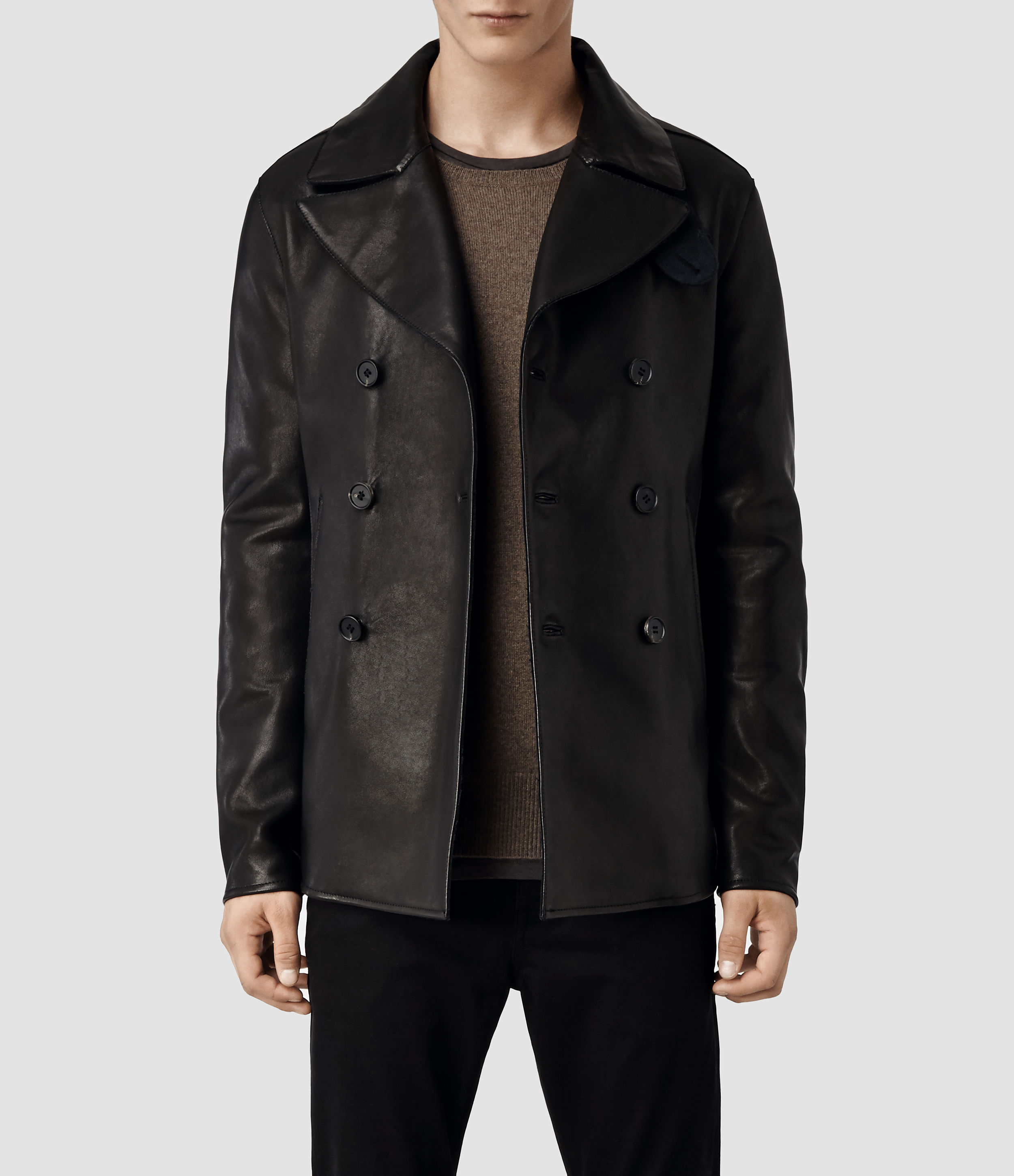 Allsaints Piper Leather Peacoat in Black for Men | Lyst