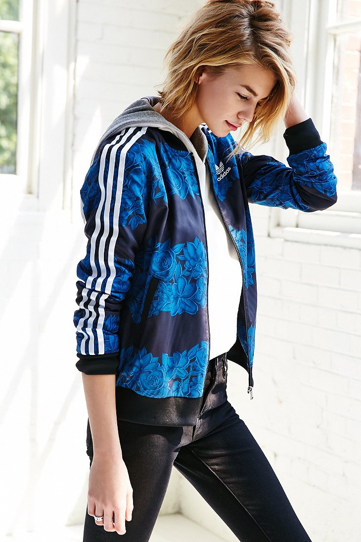 Lyst adidas blue floral track jacket in blue for Adidas floral shirt urban outfitters