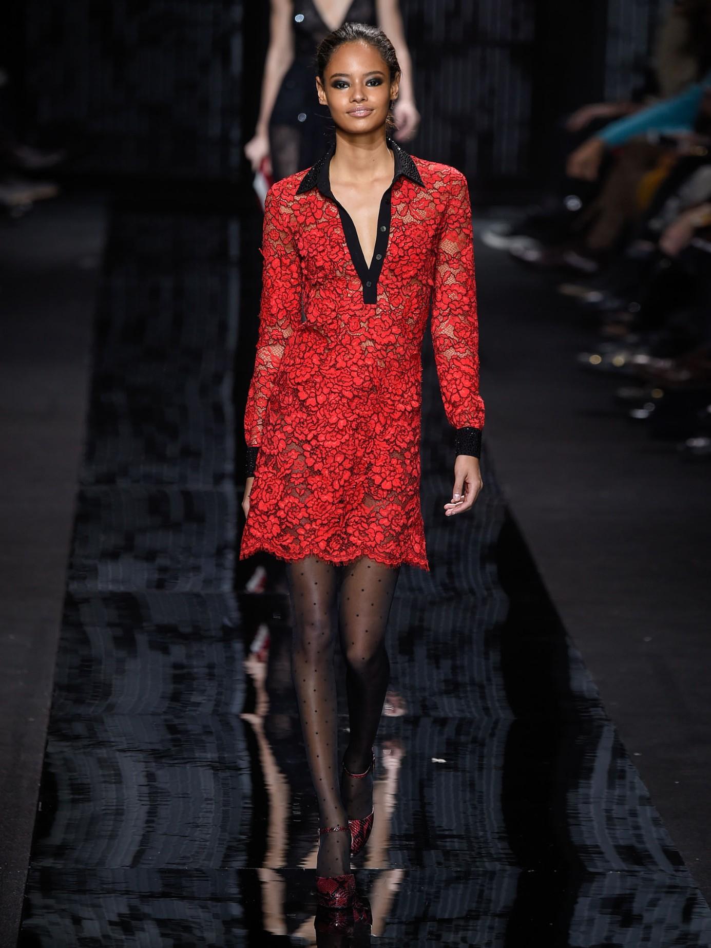 lyst diane von furstenberg lace chemise shirt dress in red. Black Bedroom Furniture Sets. Home Design Ideas