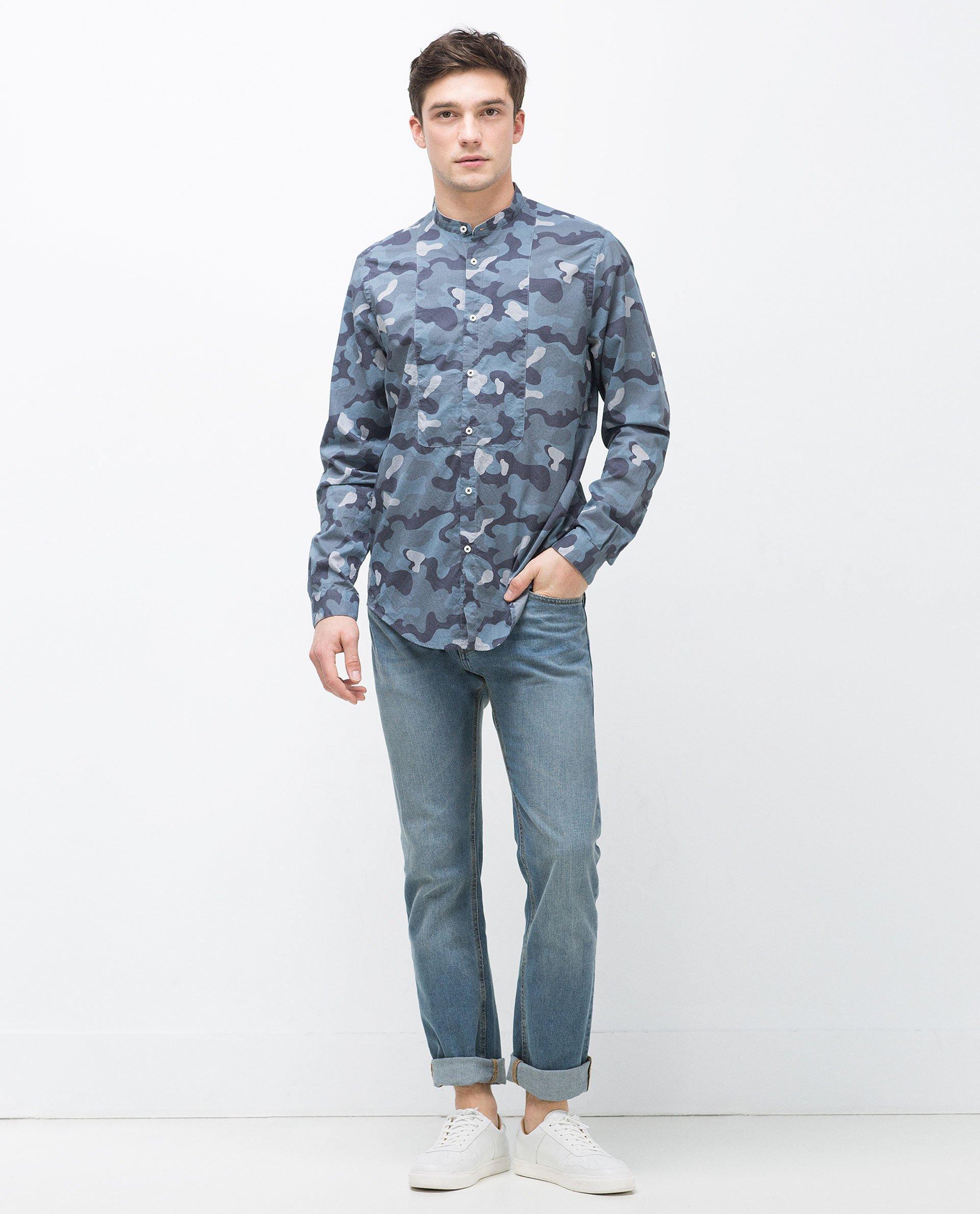 Zara Mandarin Collar Shirt In Blue For Men Lyst