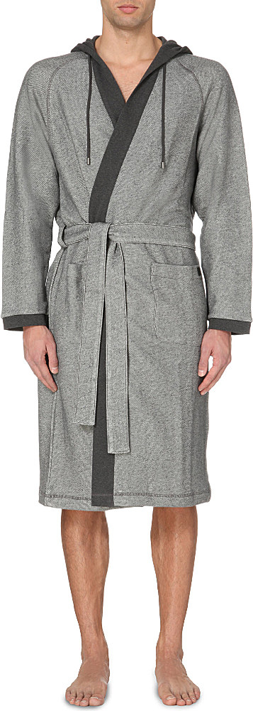 Boss Terry Hooded Cotton-blend Robe in Gray for Men - Lyst