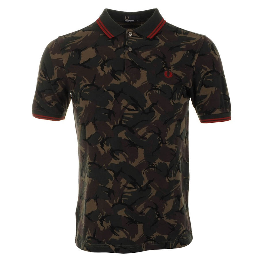 Fred perry x margate camo on the run polo t shirt in green for Camo polo shirts for men