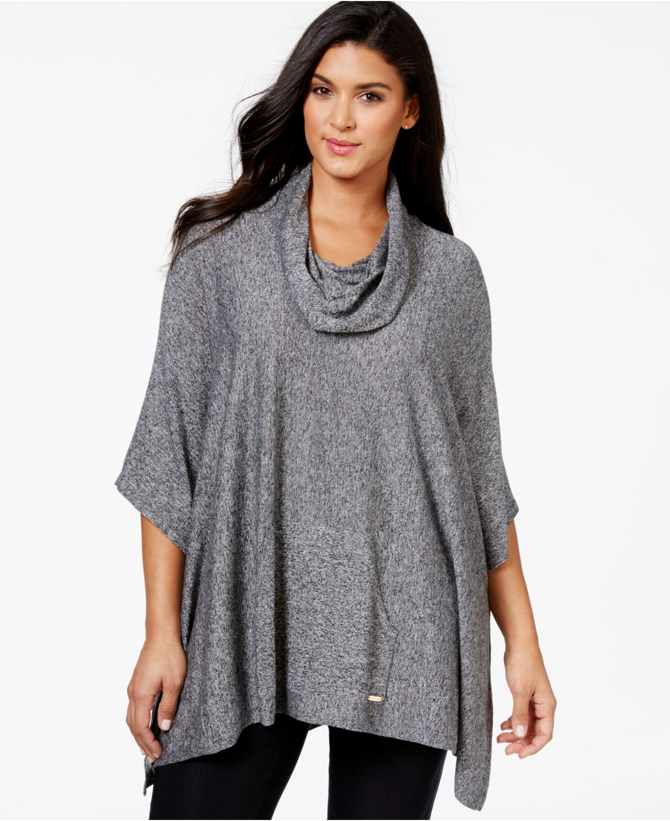Calvin klein Plus Size Marled Cowl-neck Poncho Sweater in Gray | Lyst