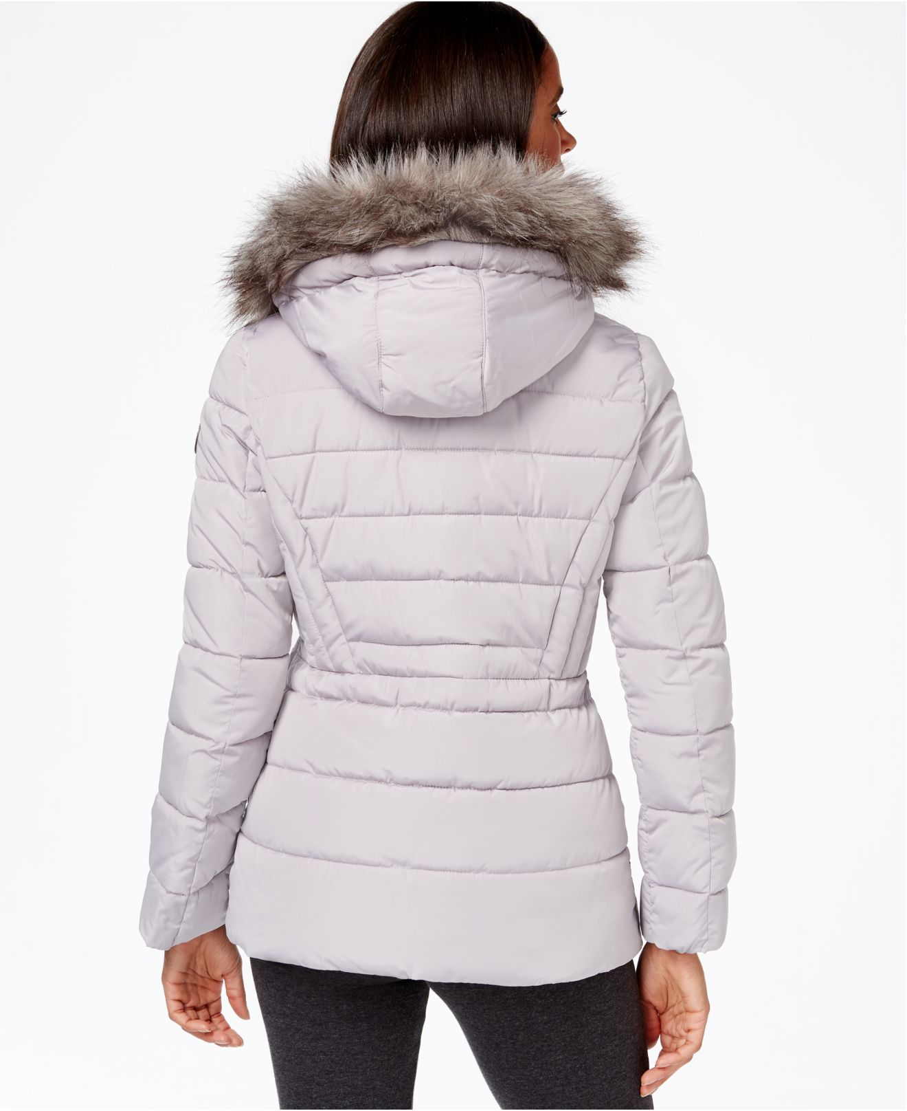 Calvin Klein Hooded Faux Fur Trim Quilted Puffer Coat
