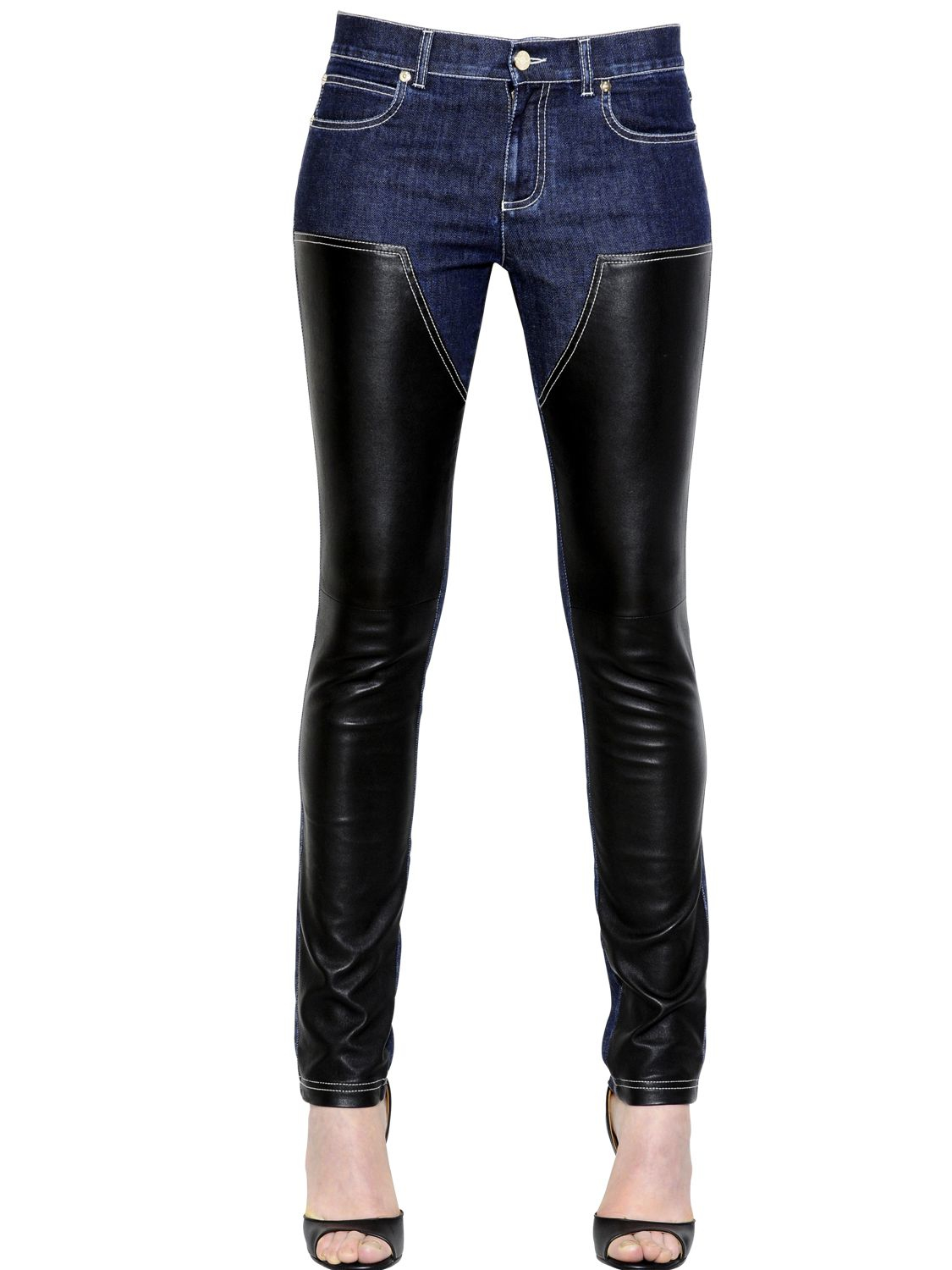 Lyst - Givenchy Cotton Denim & Nappa Leather Jeans in Blue