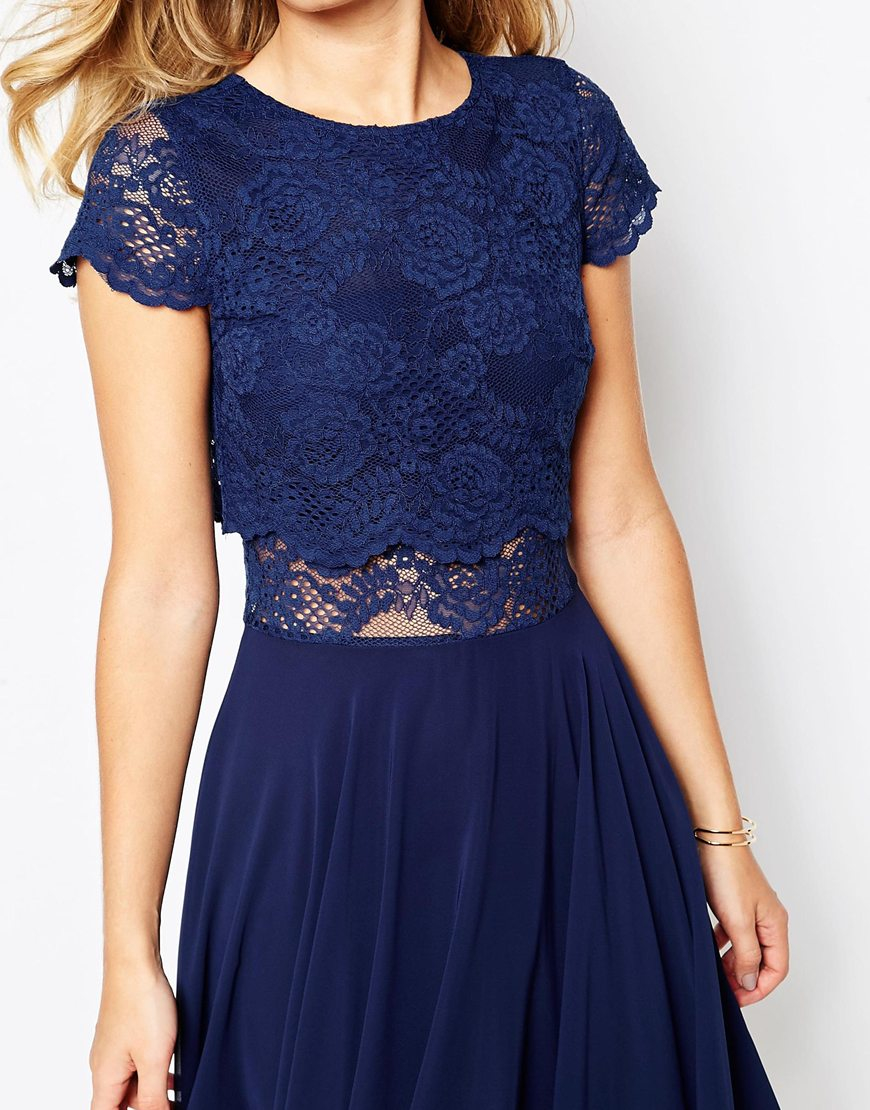 Asos Crop Top Lace Midi Dress In Blue Lyst
