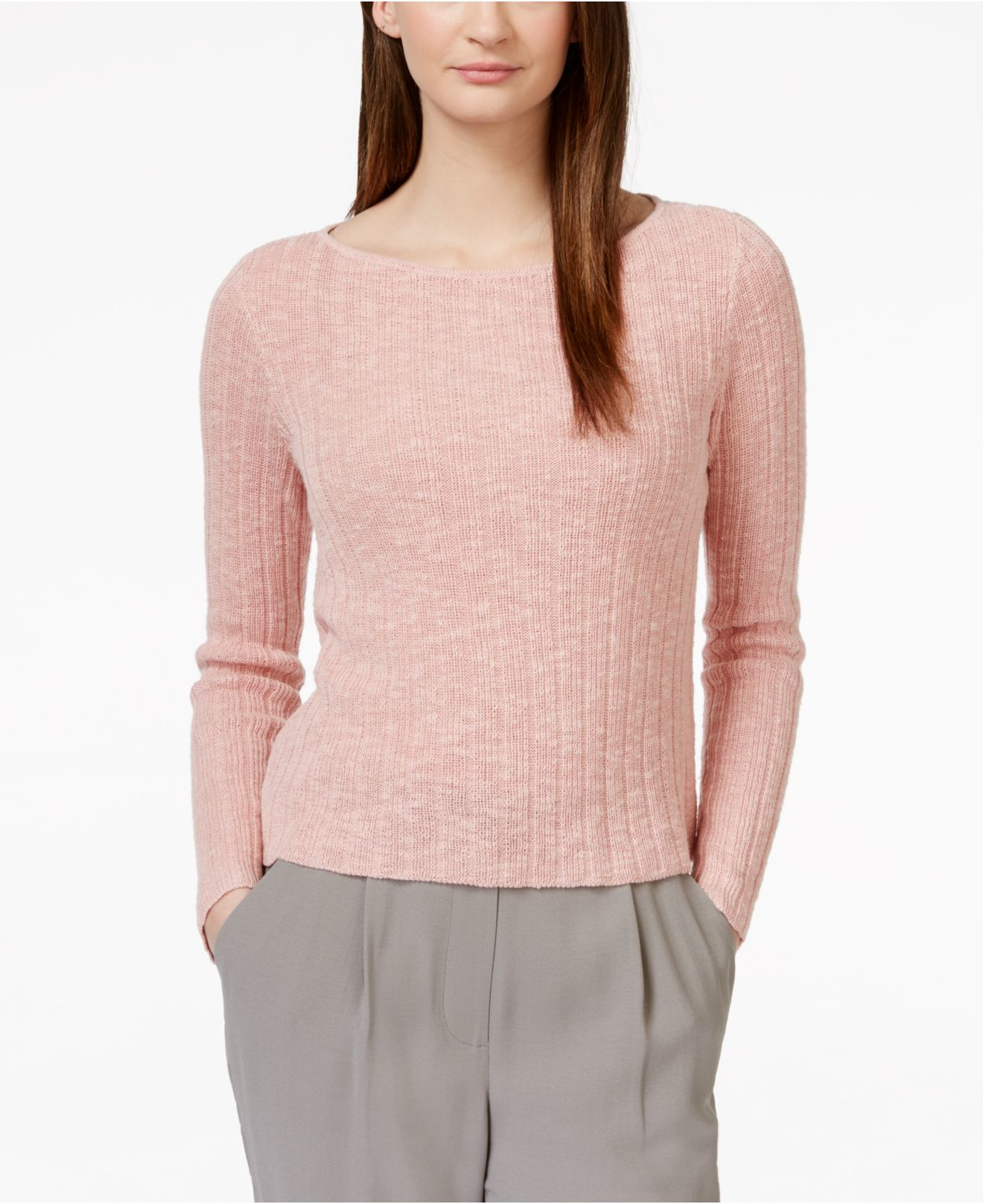 Eileen fisher Bateau-neck Ribbed Sweater in Pink | Lyst
