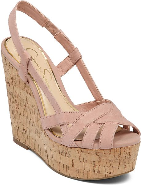 Jessica Simpson Westt Cork Wedge Sandals In Pink Lyst