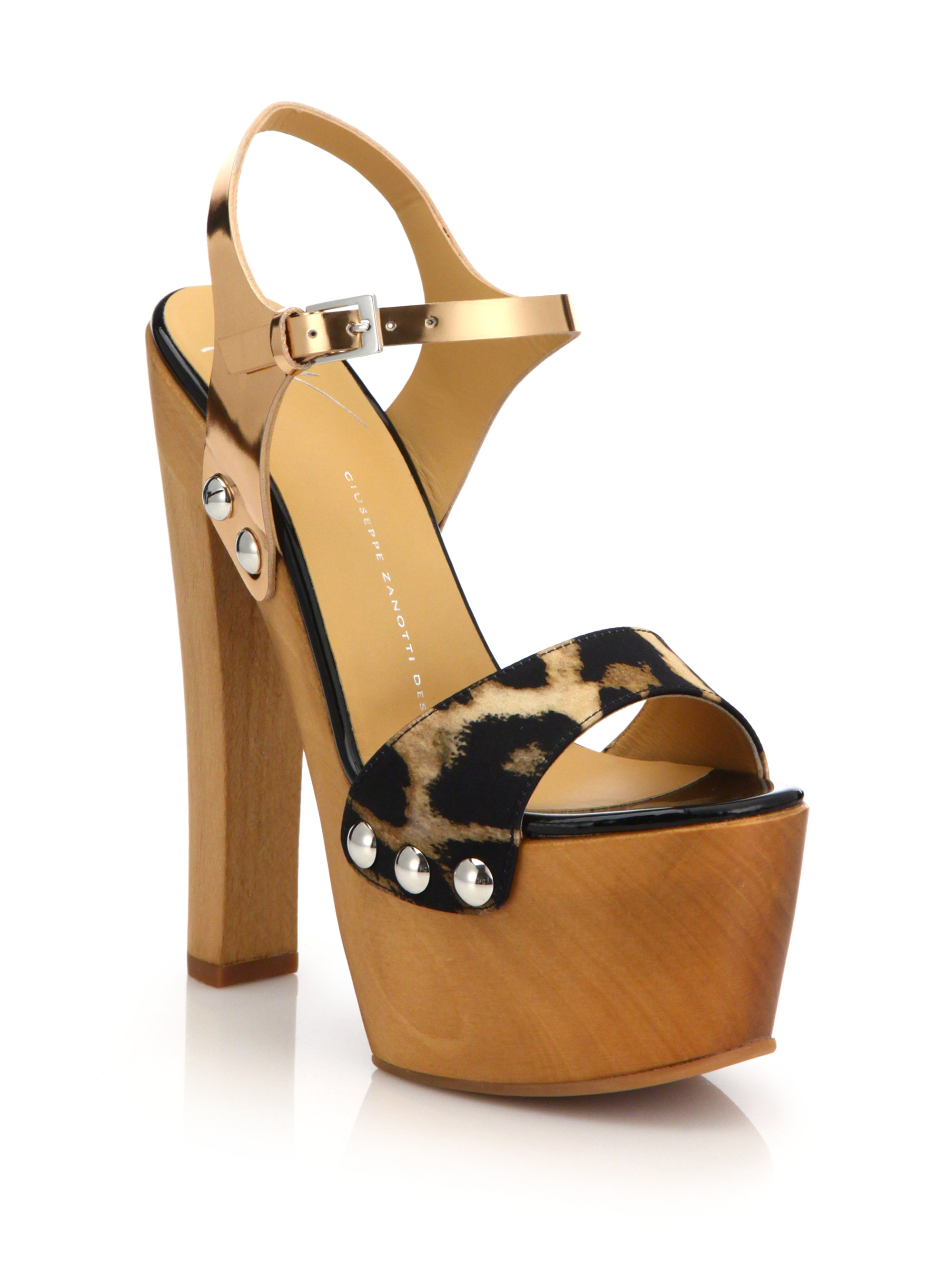 d5fb8306fa9e Lyst - Giuseppe Zanotti Wooden Clog Platform Sandals