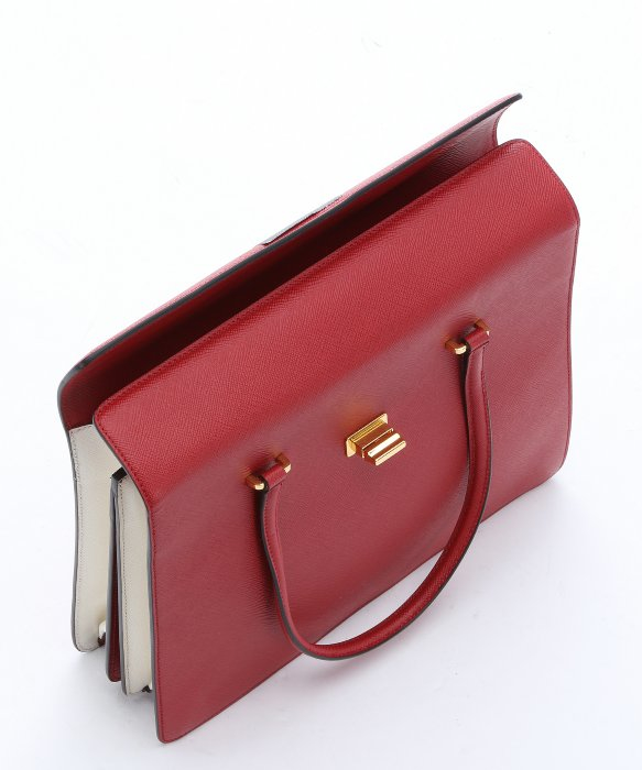 Prada Red And White Saffiano Leather Structured Top Handle Bag in ...
