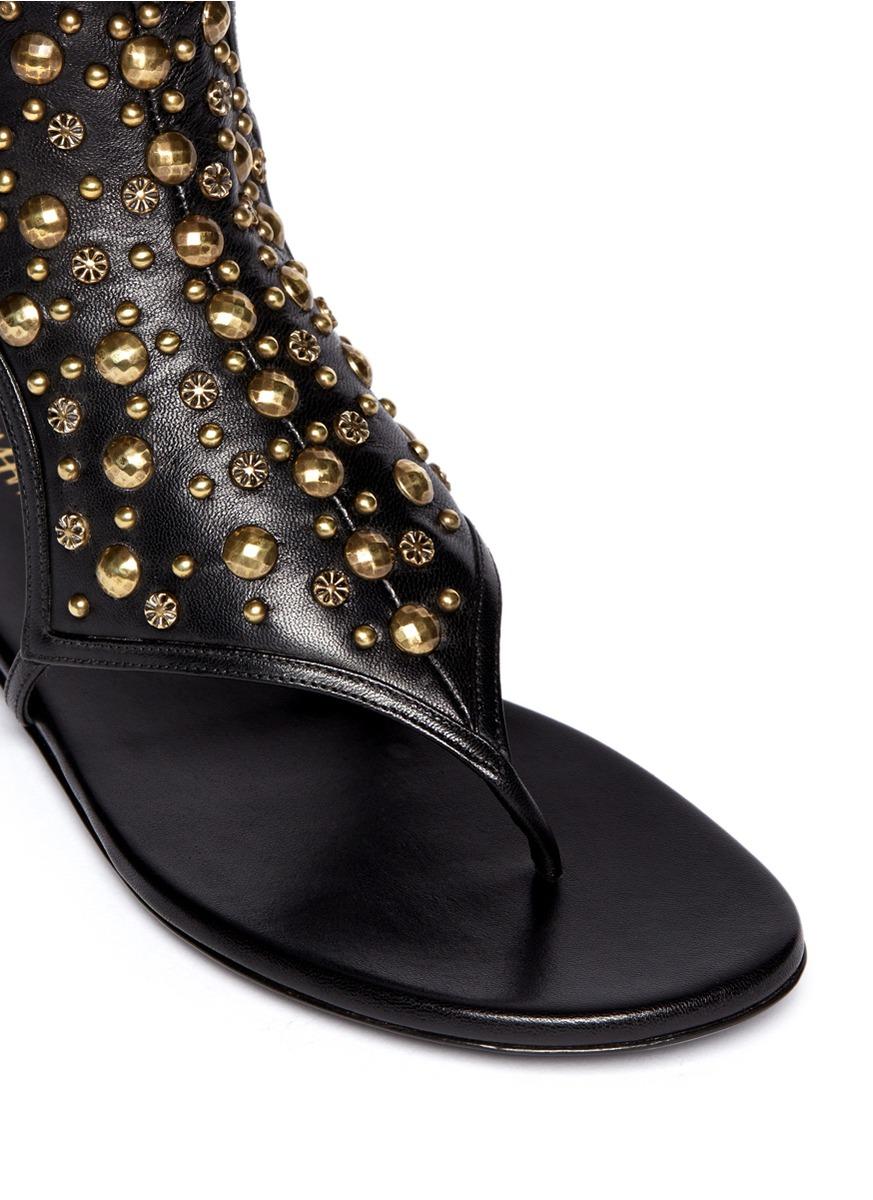 Tamara Mellon 39 Heavy Metal 39 Stud Leather Flat Sandals In Black Lyst