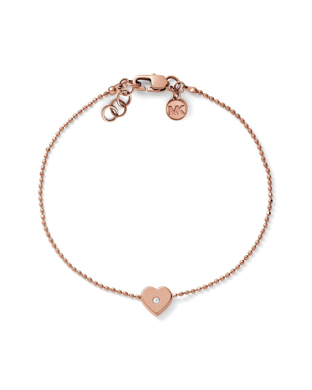 Michael Kors Heart Charm Bracelet in Gold (Rose Gold) | Lyst