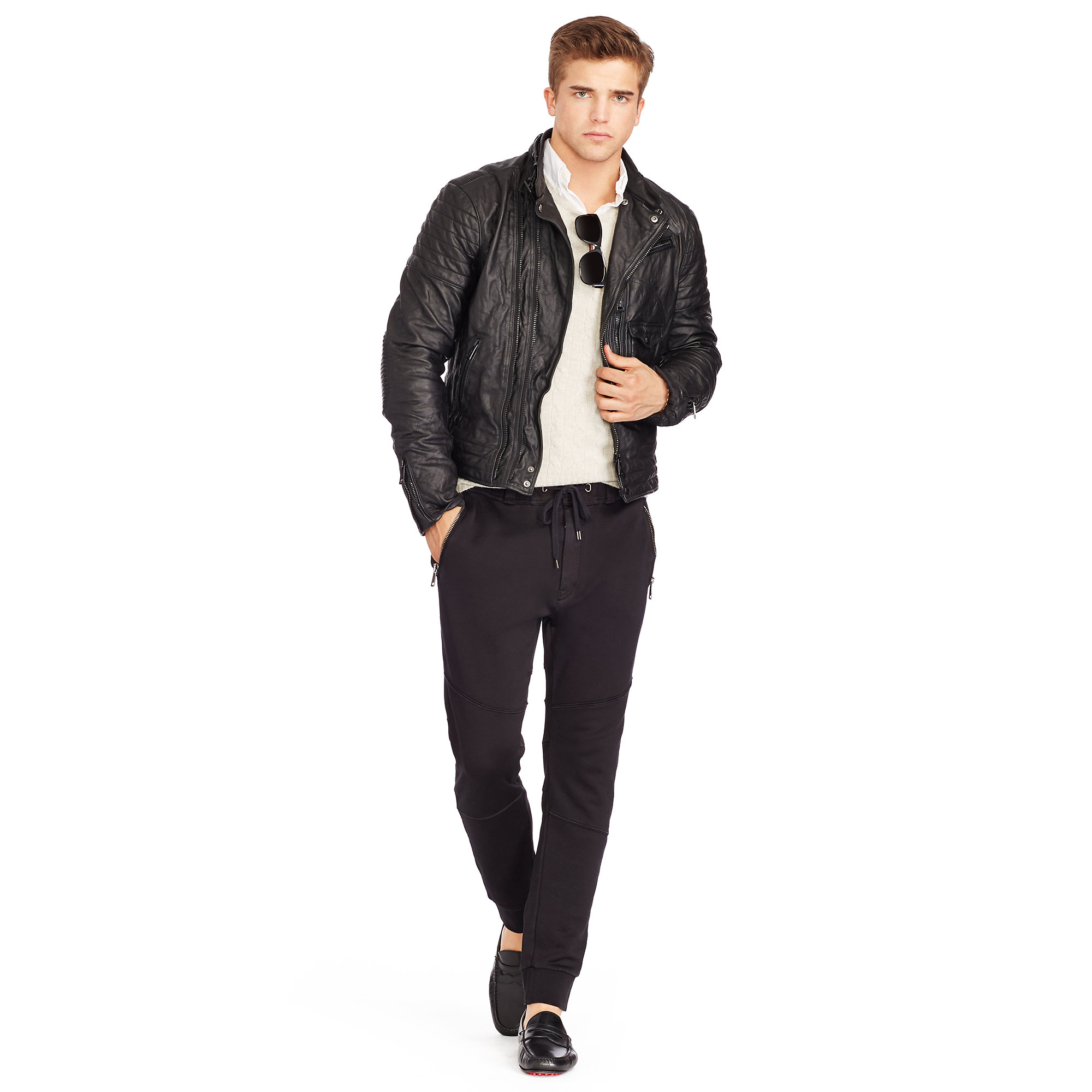 Polo Ralph Lauren Leather Engine Biker Jacket In Black For