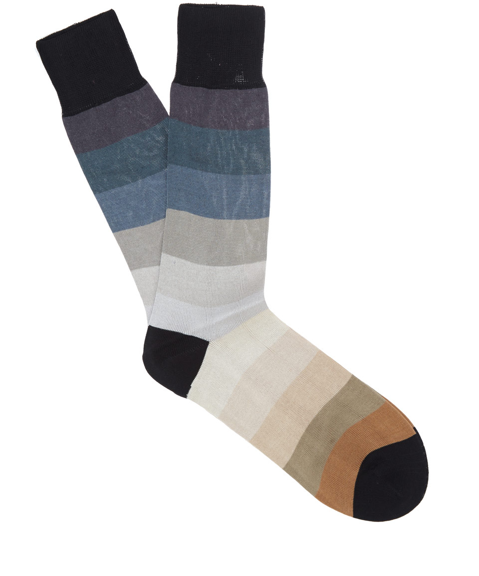 Paul smith Grey Rainbow Stripe Socks in Gray for Men