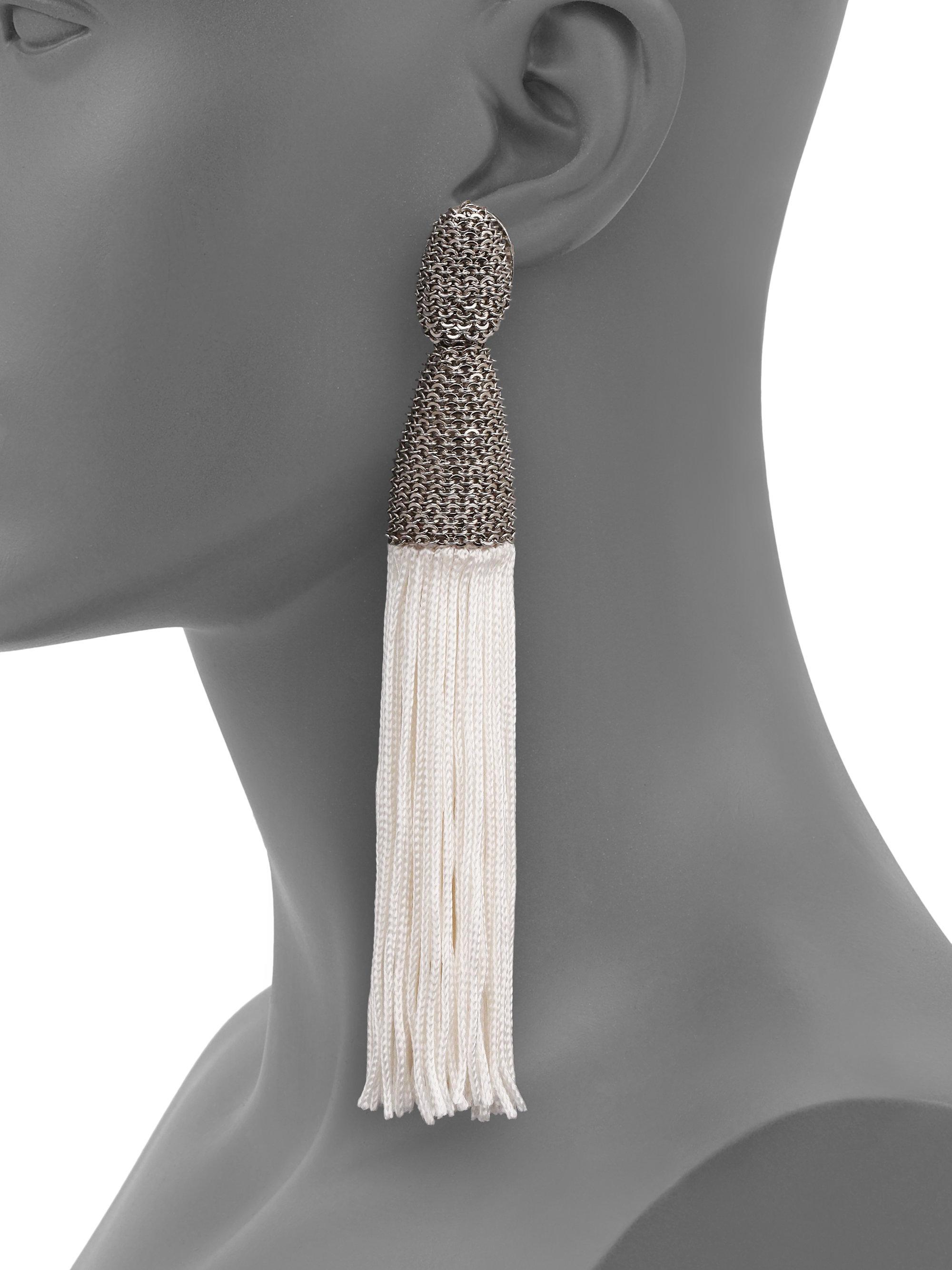 Lyst Oscar De La Renta Long Silk Tassel Clip On Earrings In White