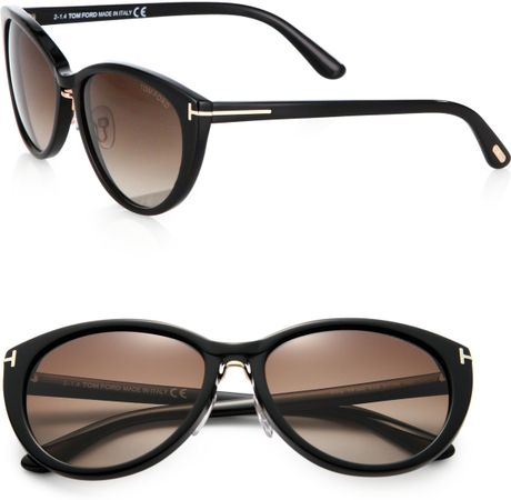 tom ford gina cat 39 s eye sunglasses in black black brown lyst. Cars Review. Best American Auto & Cars Review