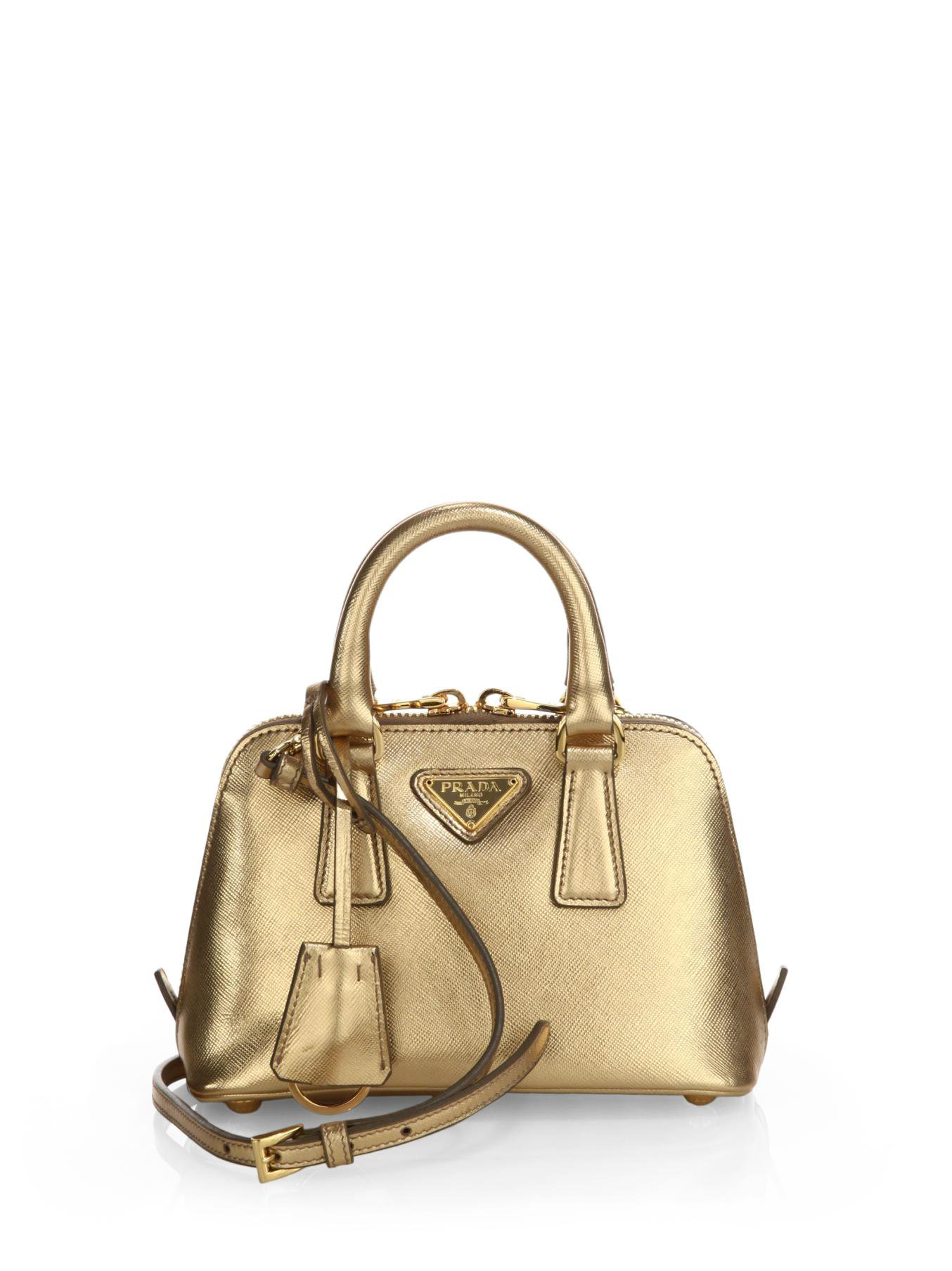 52dbdda5fefb Lyst - Prada Saffiano Lux Double Handle Mini Satchel in Metallic