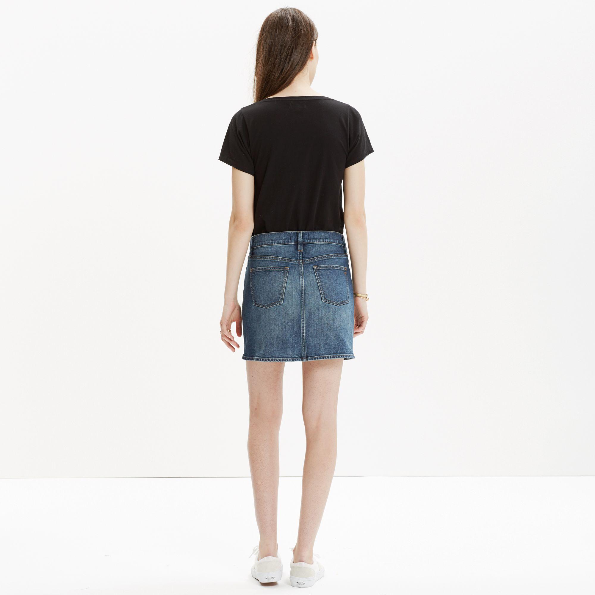 madewell denim side button mini skirt in blue lyst