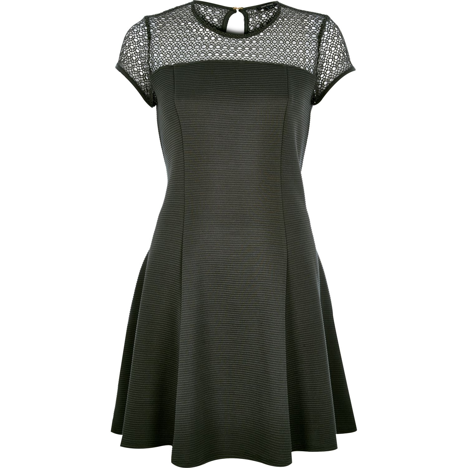 River island Khaki Green Lace Top Ribbed Skater Dress in ...