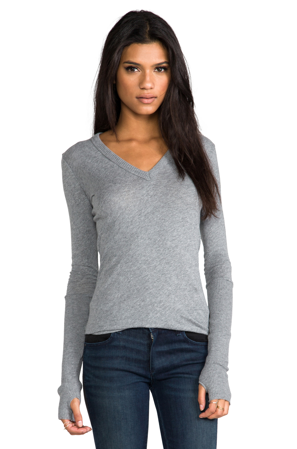 Enza costa Cashmere Fitted Cuffed V Neck Sweater in Gray in Gray ...
