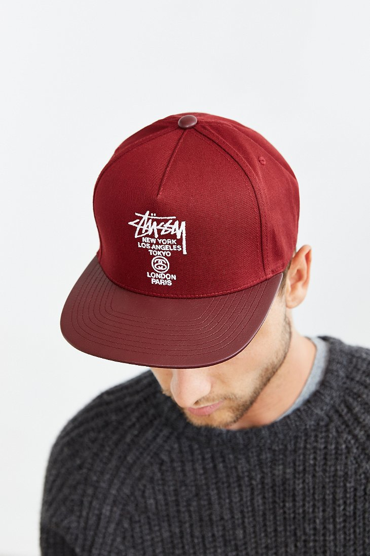 Lyst - Stussy World Tour Snapback Hat in Red for Men 0f512c33e3f