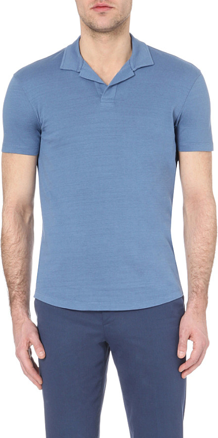 lyst orlebar brown massey cotton polo shirt in blue for men