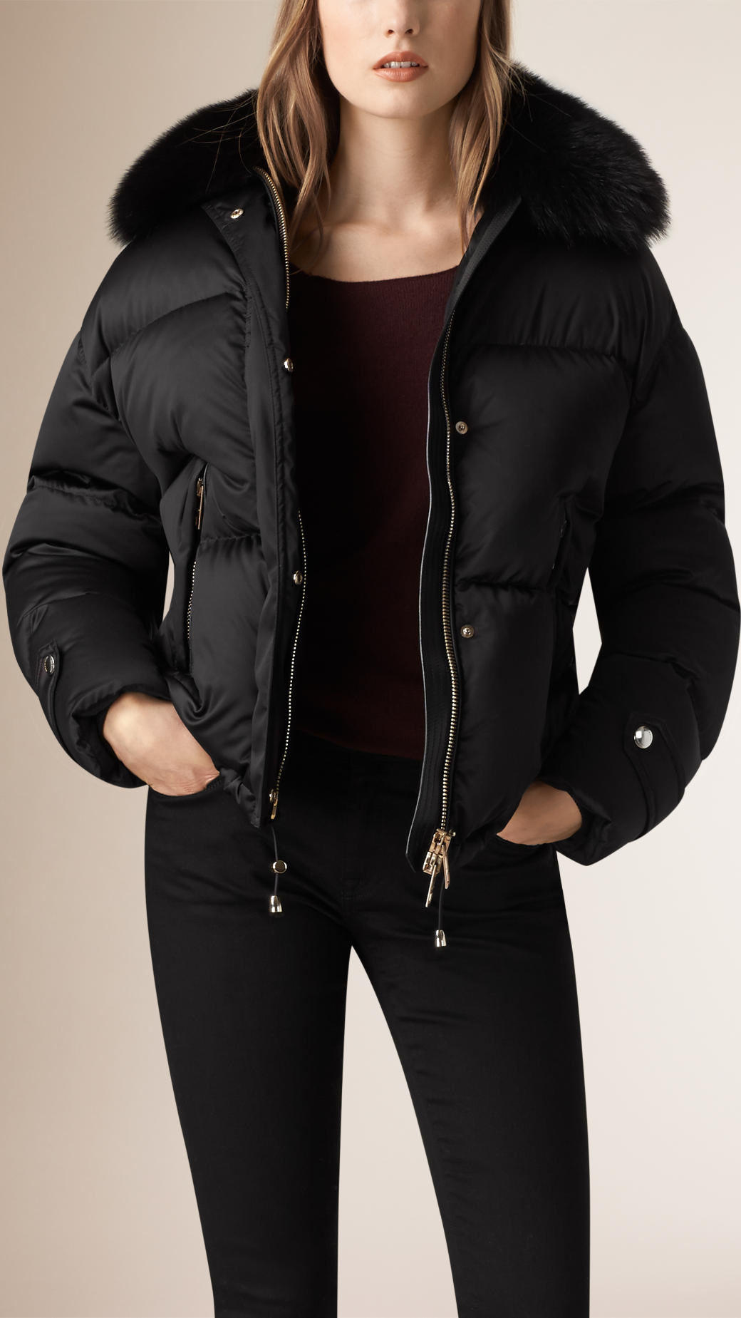 Burberry Fox Fur Trim Down Puffer Jacket In Black Lyst