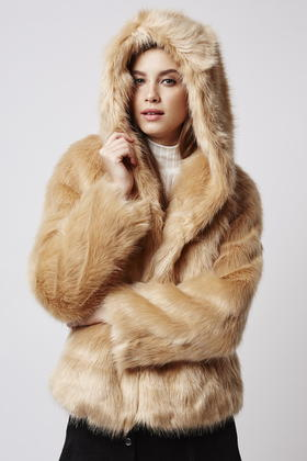Topshop Luxe Faux Fur Hooded Coat in Natural | Lyst