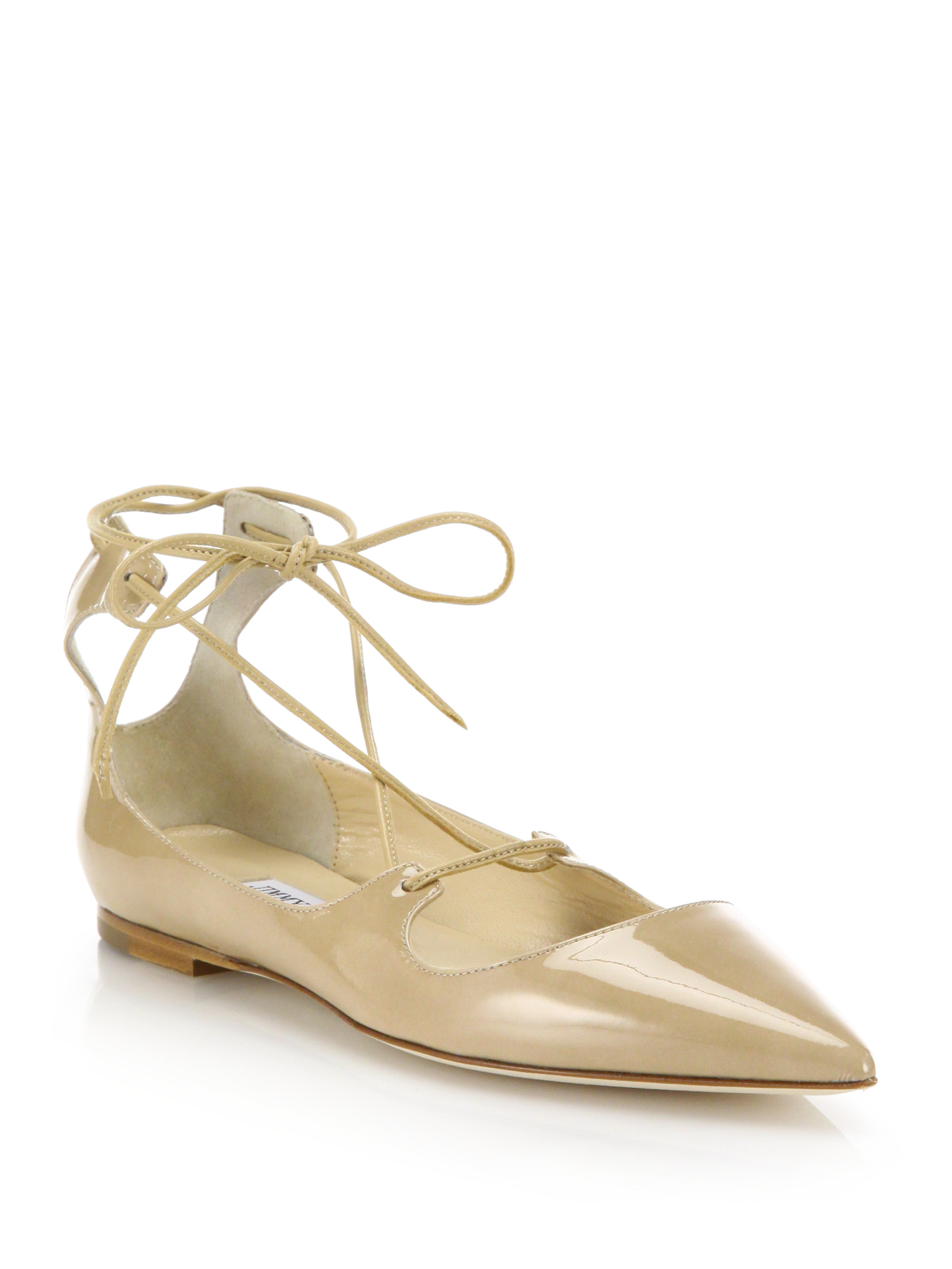 57ca4c030dc9 ... low price lyst jimmy choo vita patent leather flats in natural 3dc9e  bb2ed