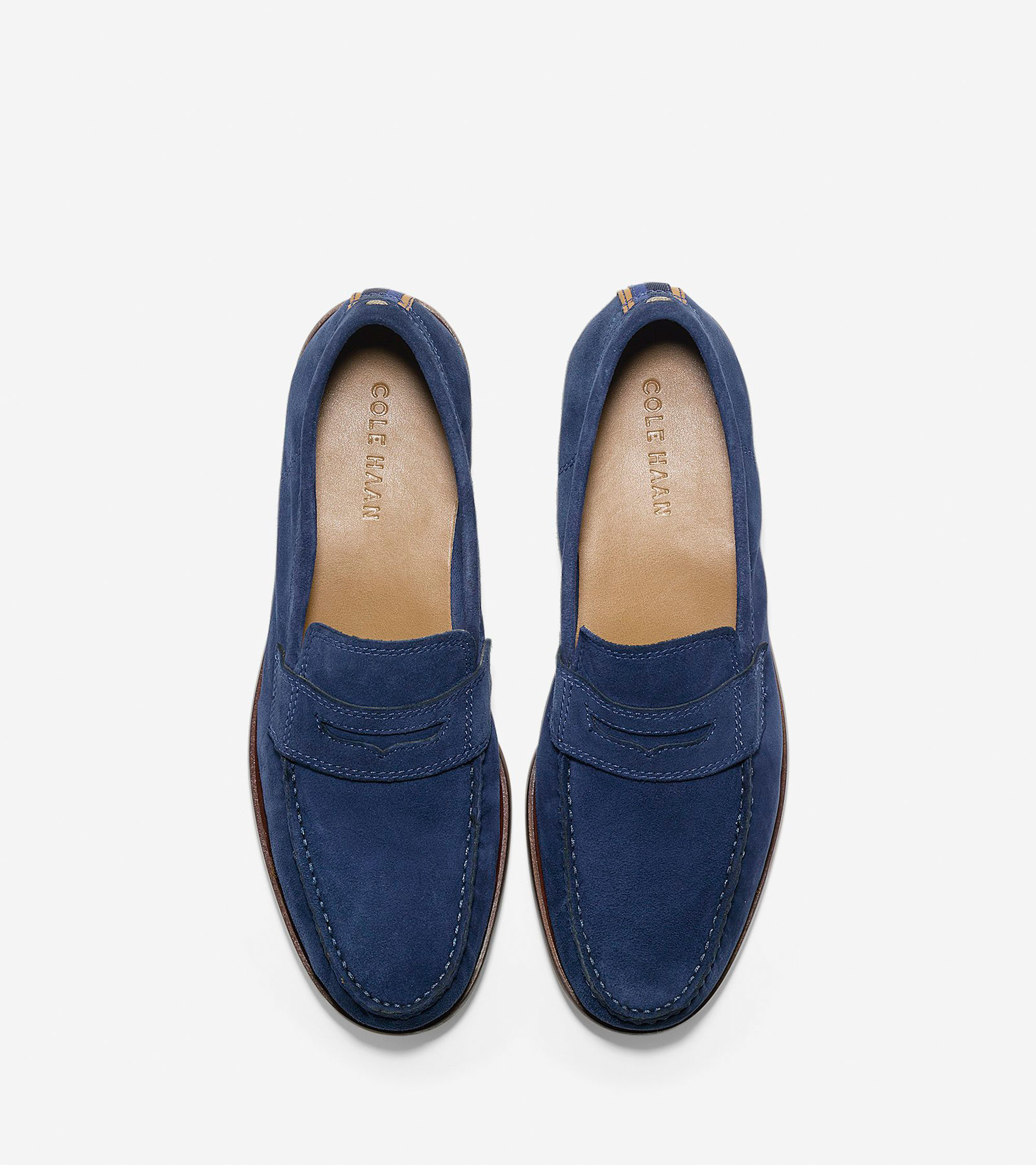 Cole haan Topsail Suede Penny Loafers in Blue for Men | Lyst