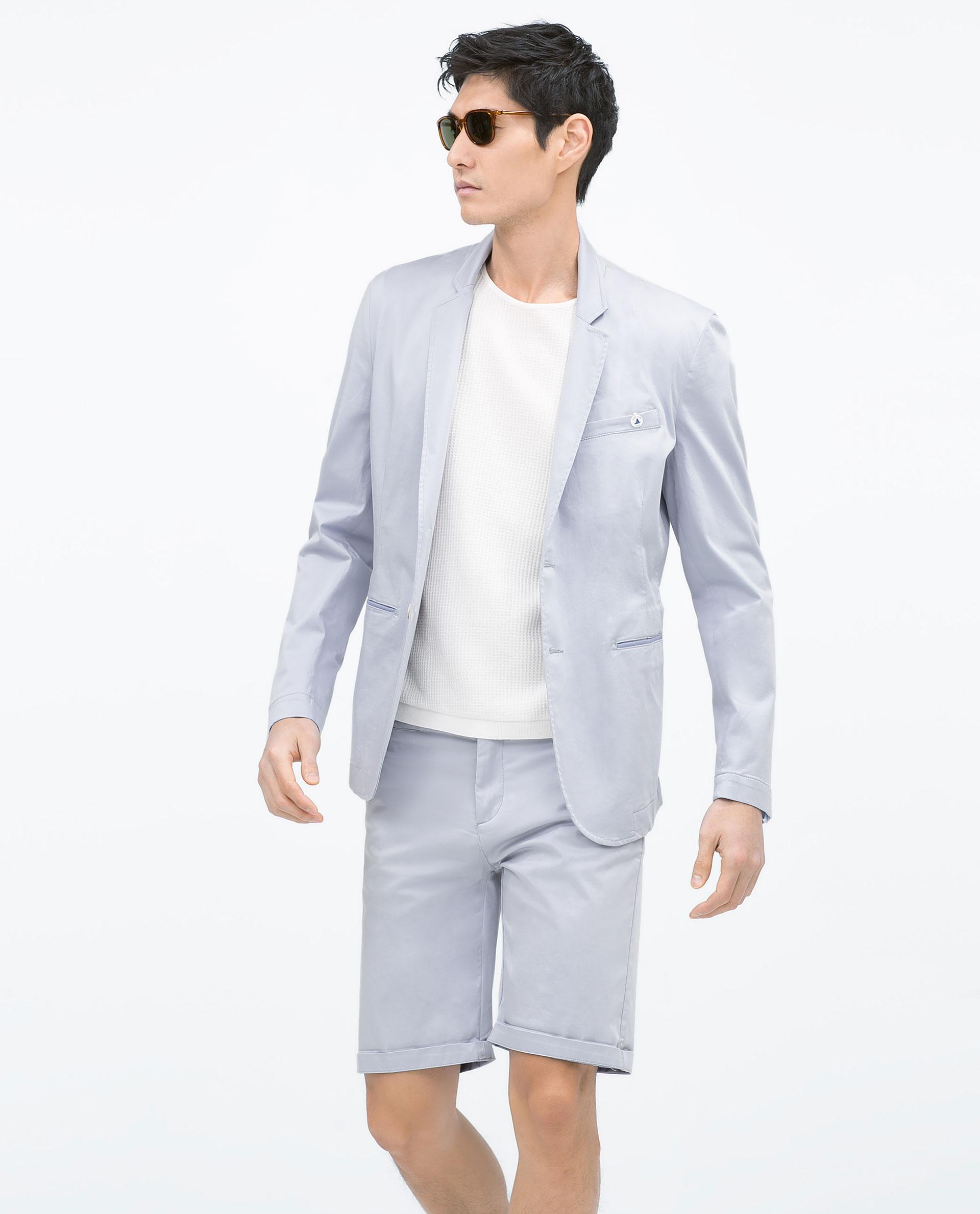 zara basic blazer in blue for men lyst. Black Bedroom Furniture Sets. Home Design Ideas