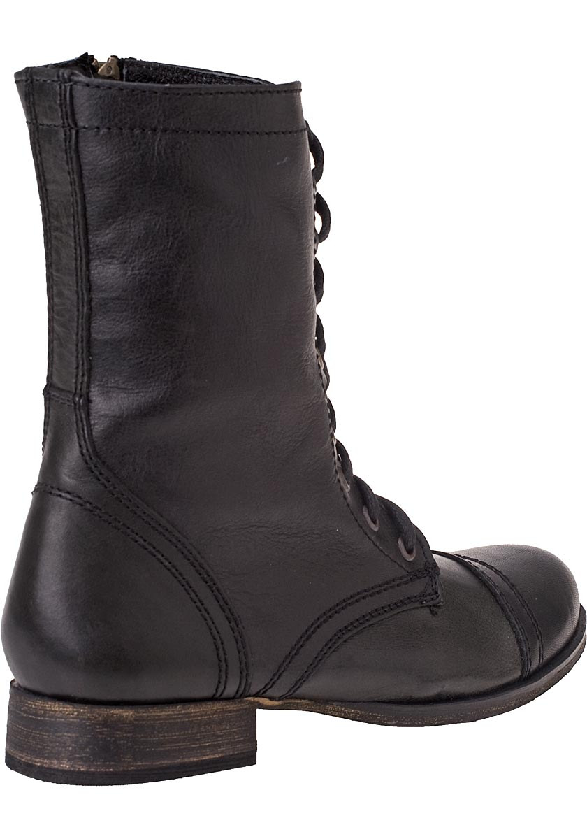 steve madden troopa lace up boot black leather in black lyst