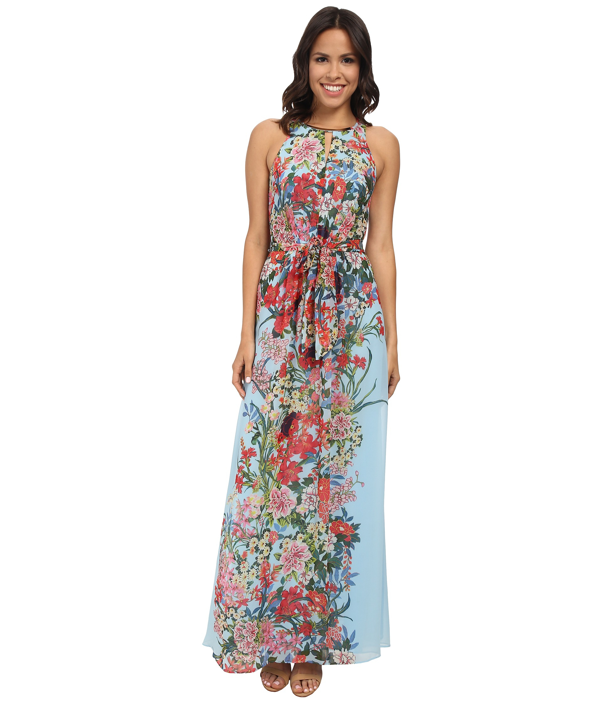 Lyst - Adrianna Papell Printed Multi Floral Halter Long Maxi Dress ...