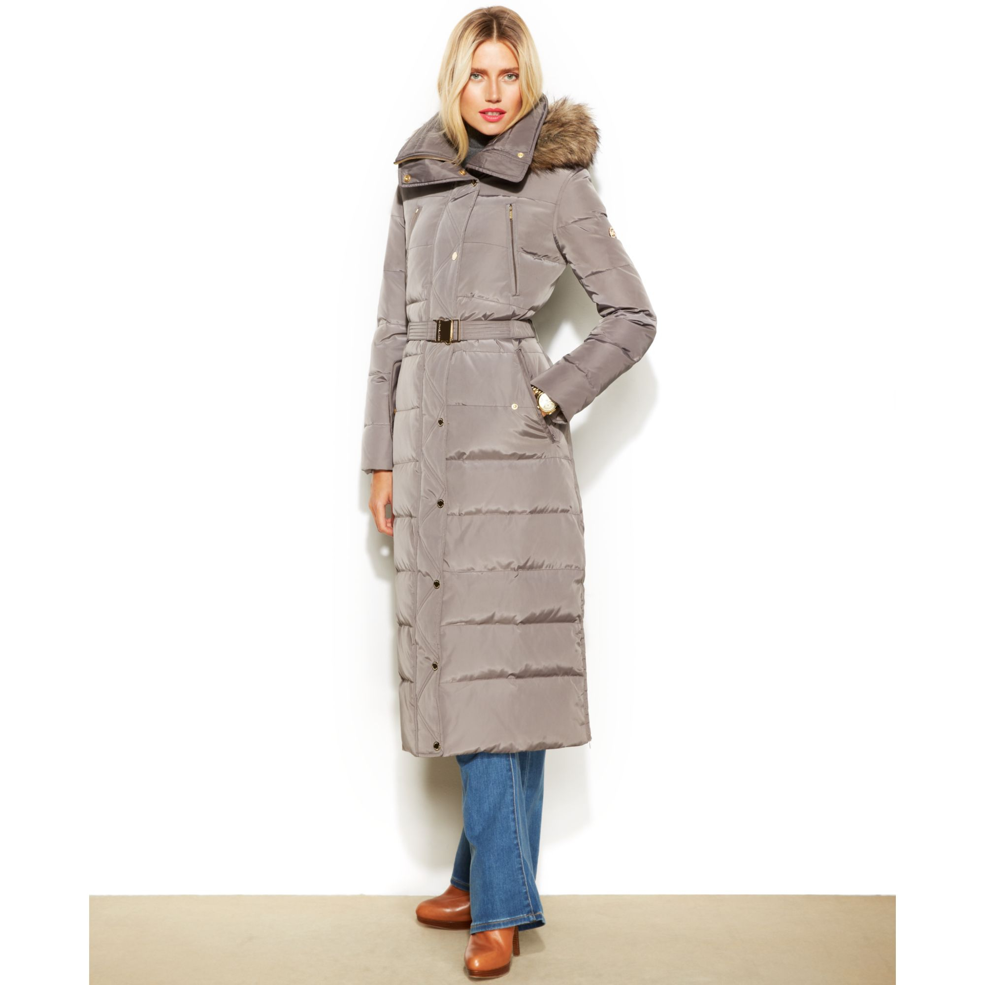 Michael kors Michael Petite Hooded Faux-Fur-Trim Belted ...