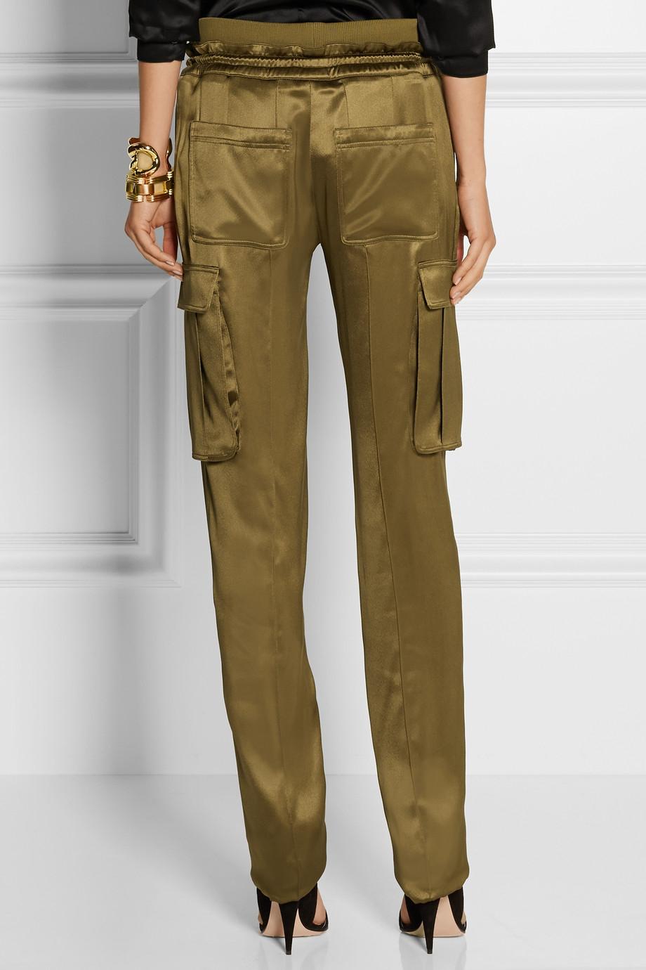 Balmain Silk-Satin Cargo Pants in Green