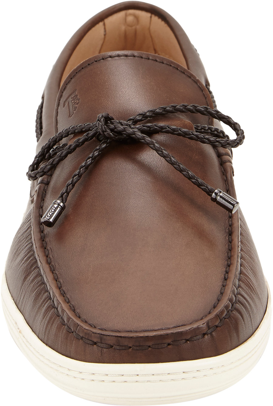 Tods Braided Tie Boat Shoes In Brown For Men Lyst New Voltus Sport Mens Plait Gallery