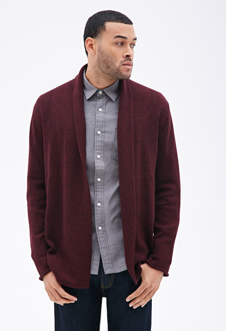 Forever 21 Heathered Open Cardigan in Purple for Men | Lyst