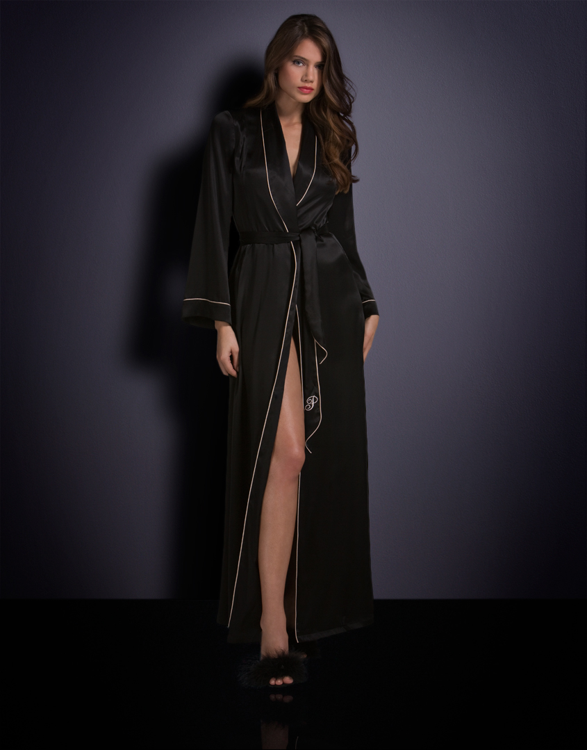 Agent provocateur Long Classic Dressing Gown Black in Black | Lyst