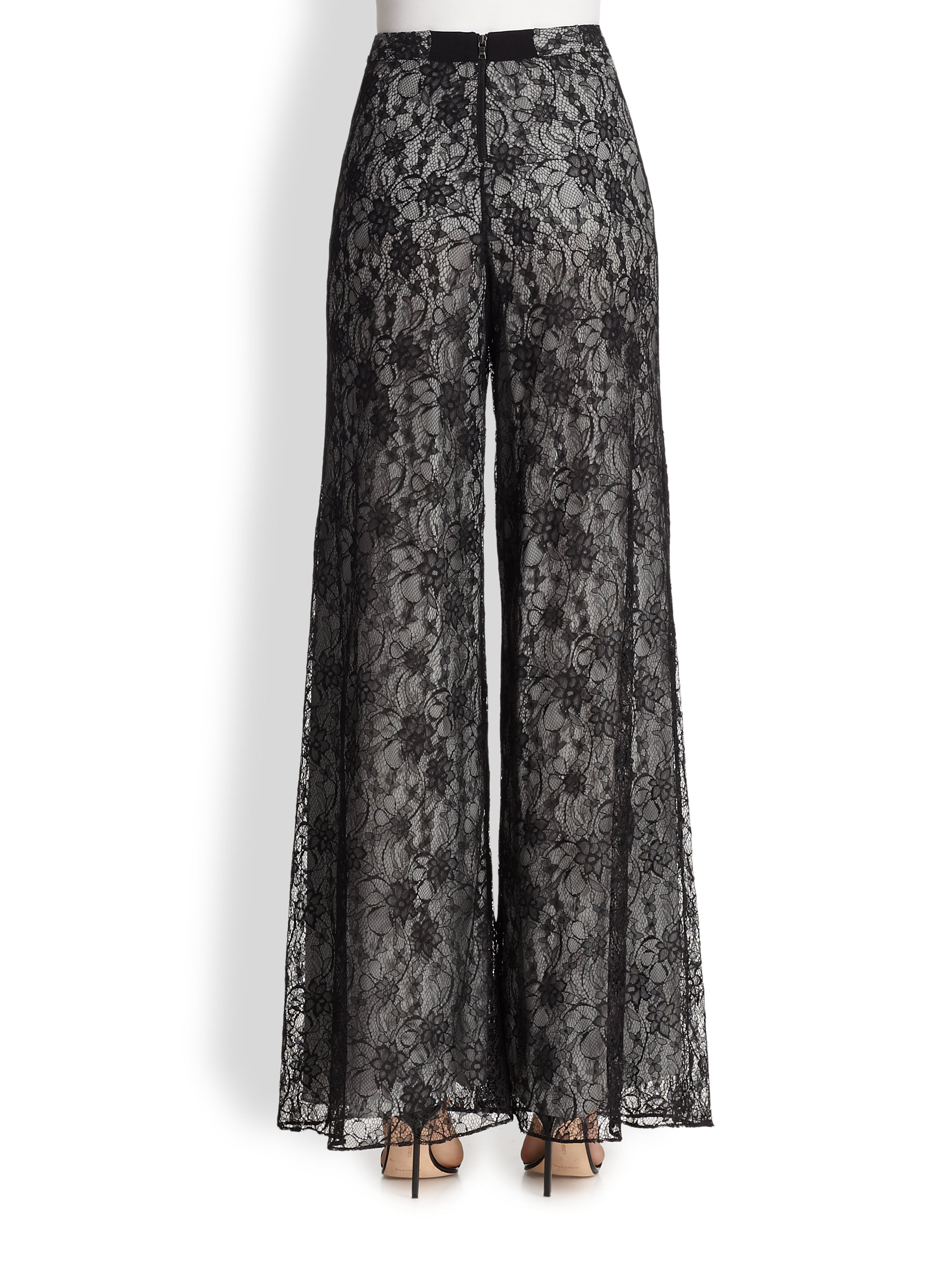 Alice   olivia Super Flared Wide-Leg Lace Pants in Black | Lyst