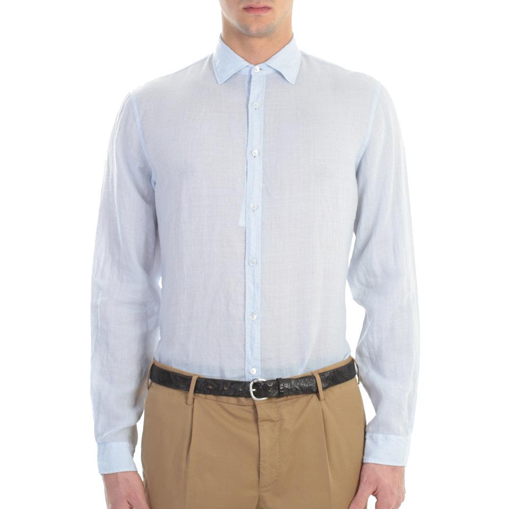 Matthew goodman light purple linen shirt in blue for men for Mens light blue linen shirt
