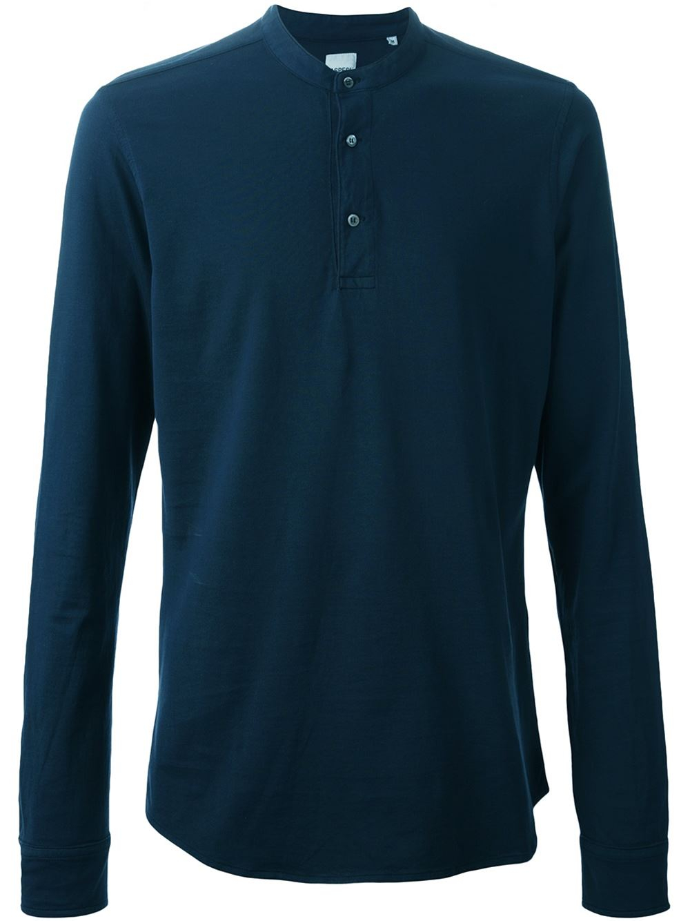 Aspesi button collar long sleeve t shirt in blue for men for Three button collar shirts