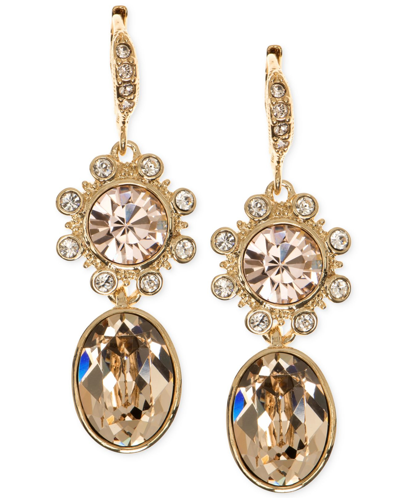 givenchy gold tone austrian glass stud earring and