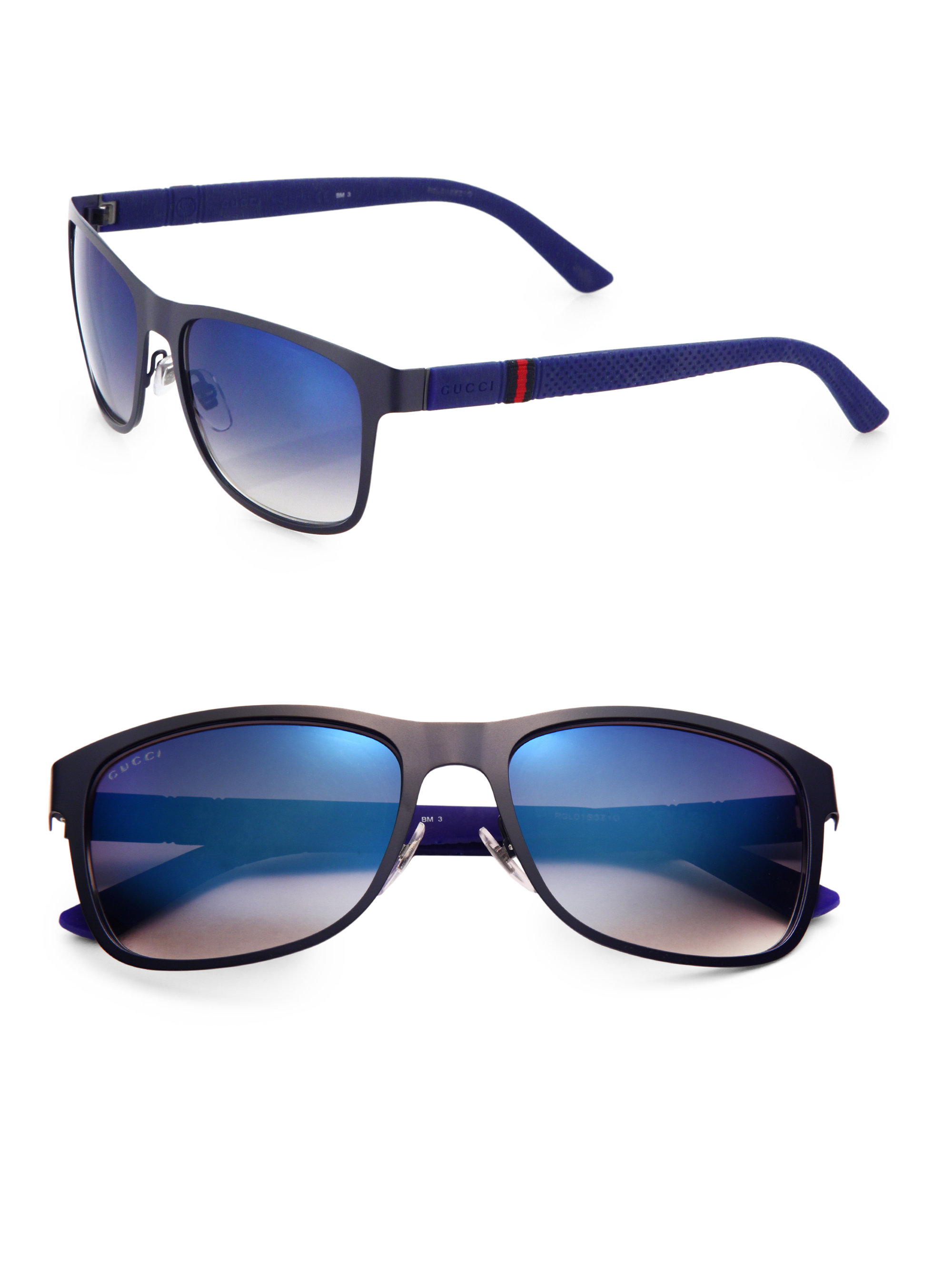 4728fd3d27f Lyst - Gucci 56mm Wayfarer Sunglasses in Blue for Men