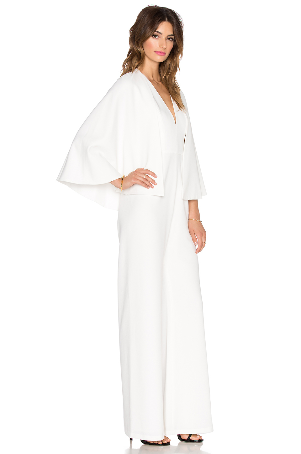 Alexis Amadeo Removable Cape Jumpsuit in White | Lyst