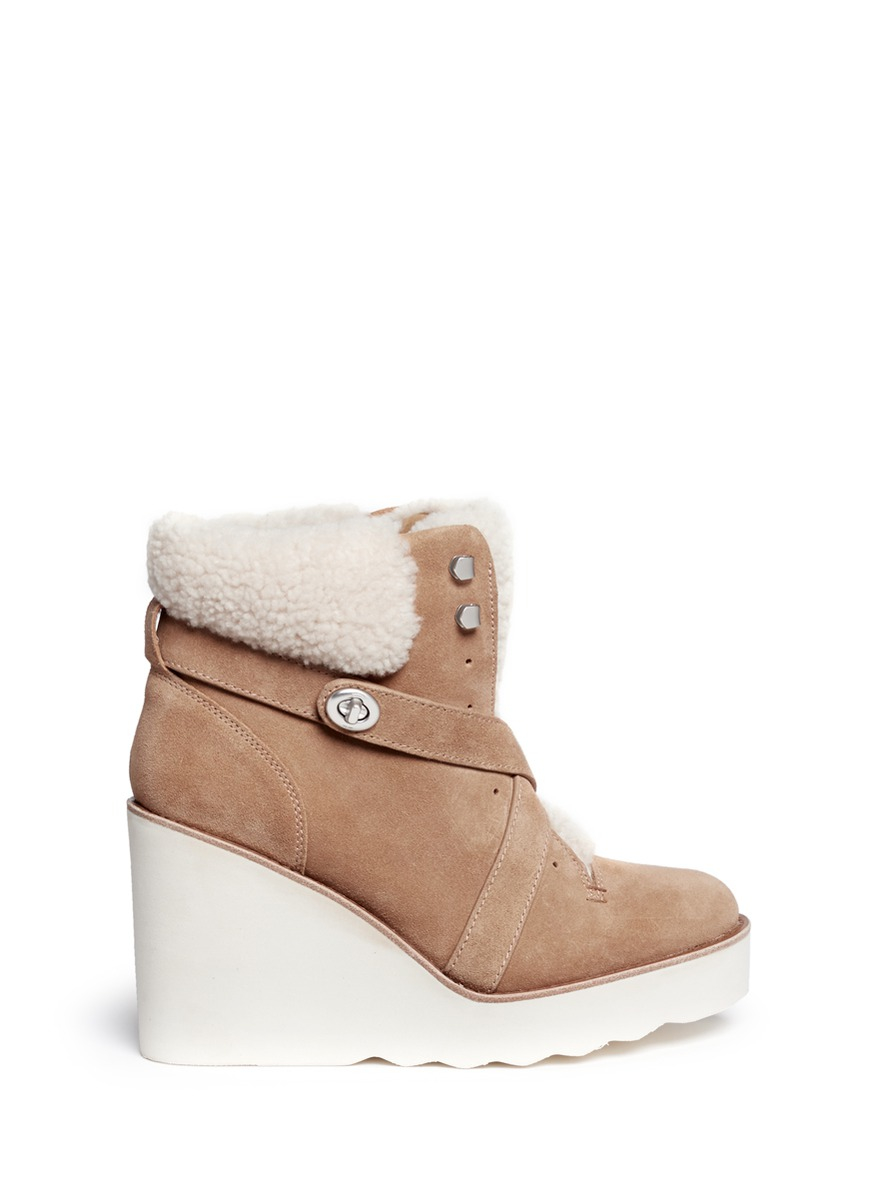 Coach Kenna Shearling Suede Wedge Boots In Brown Lyst