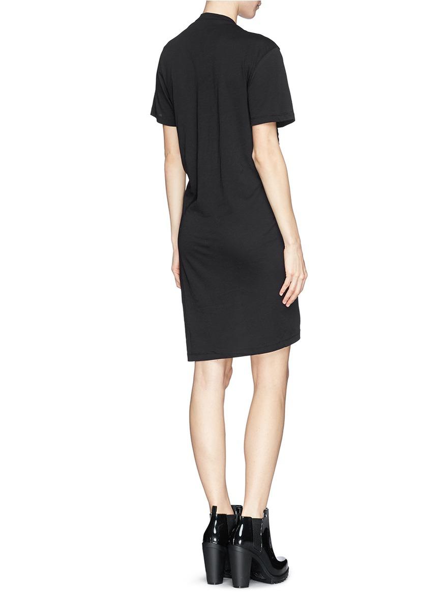 Lyst mcq paint drip logo print smock t shirt dress in black for Logo t shirt dress