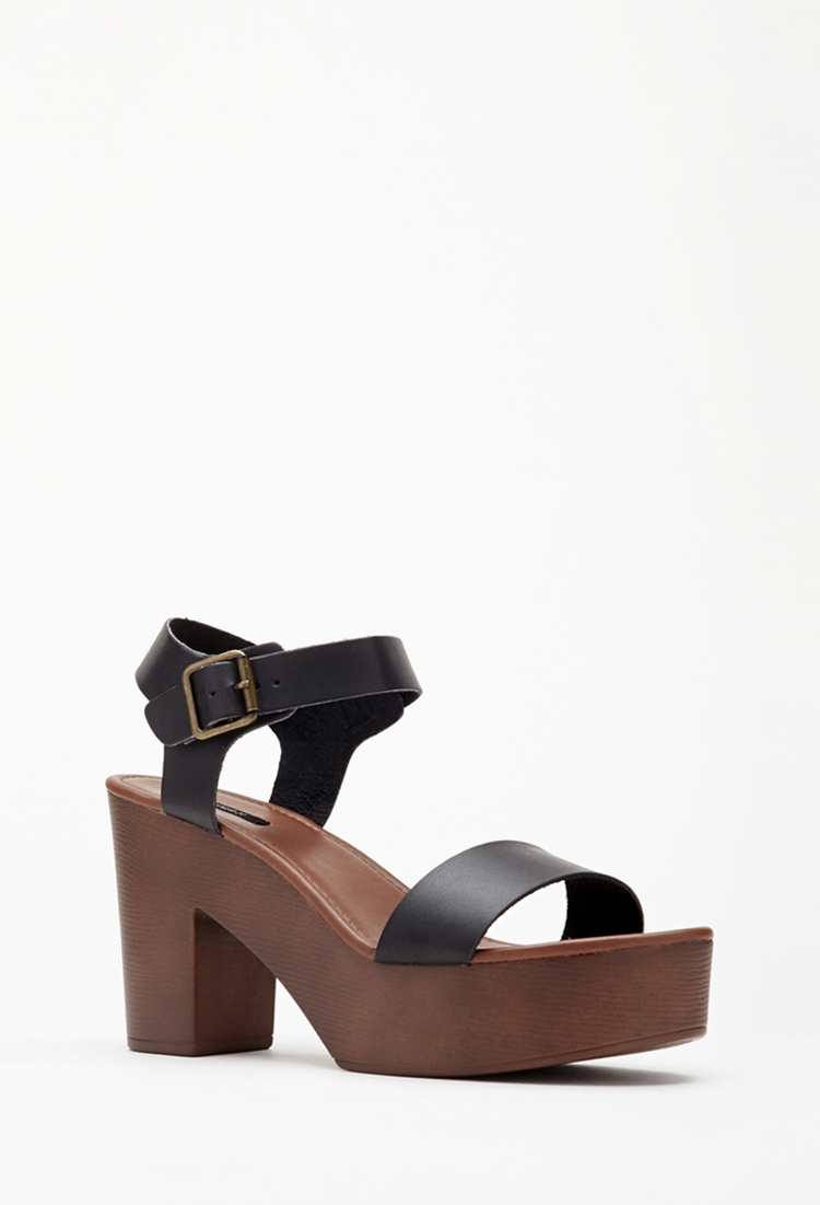 2c6796966c Forever 21 Faux Leather Strappy Platform Sandals in Black - Lyst
