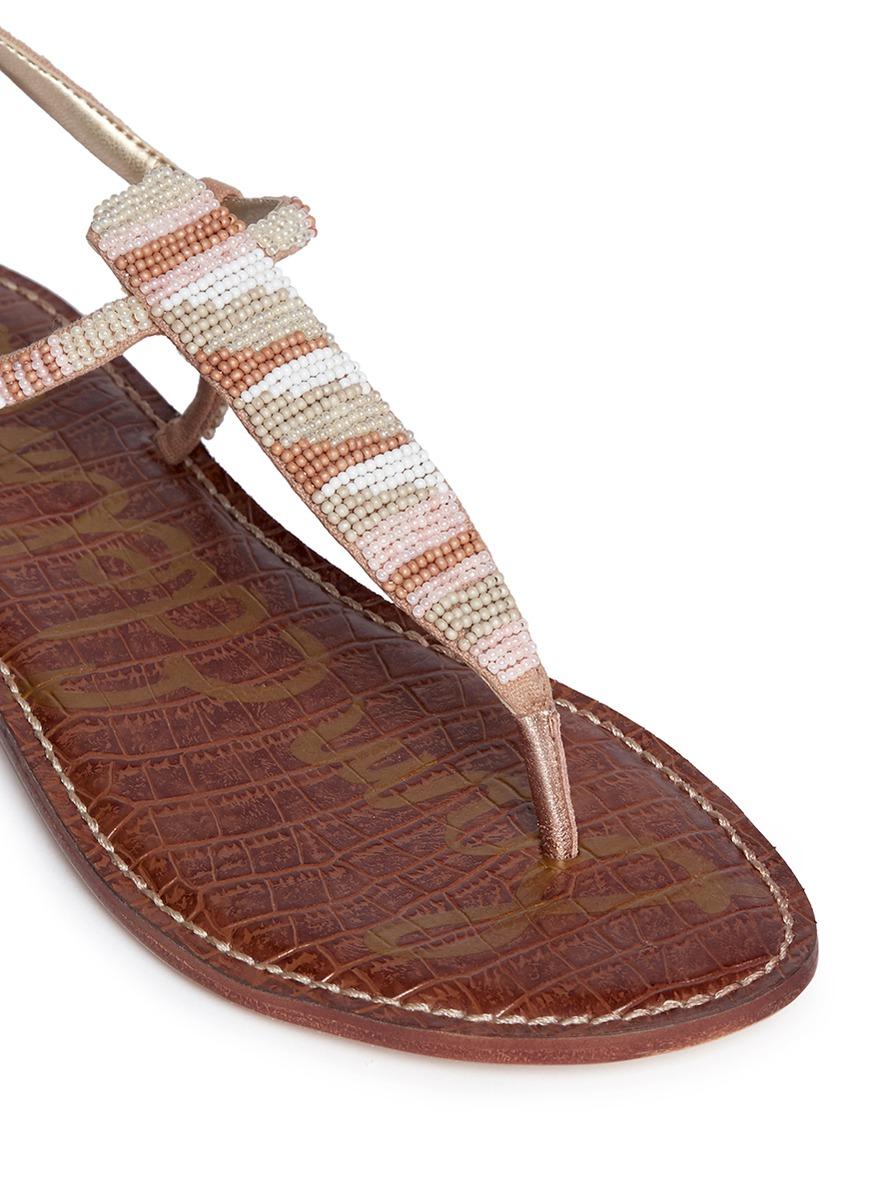 32bf60201281c5 Lyst - Sam Edelman  gail  Beaded T-strap Flat Sandals