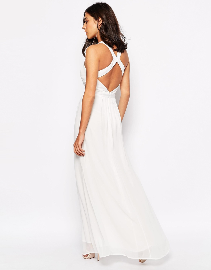 ae09bdcf69 Warehouse Cross Back Maxi Dress in White - Lyst